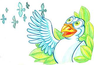 Dibujo del cuento La Paloma Feliz... feliz de estar cautiva (:S)