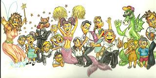 La portada del libro, con personajes de los cuentos y con niños/as de los colegios