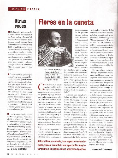 Flores en la cuneta en EL CULTURAL-El Mundo (08-01-10); Francisco Díaz de Castro