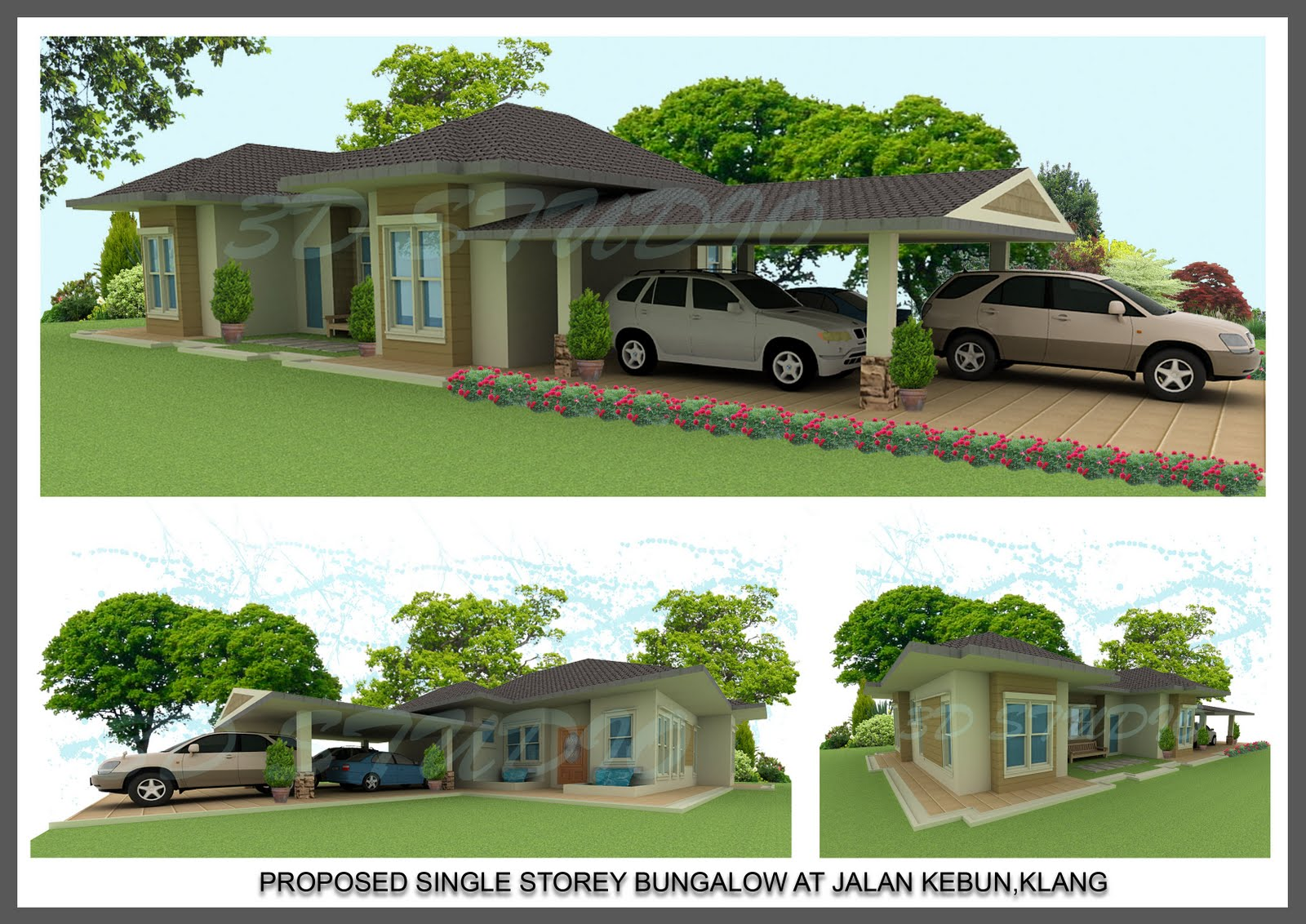 3d s t u d i o new single storey bungalow for Single storey bungalow design