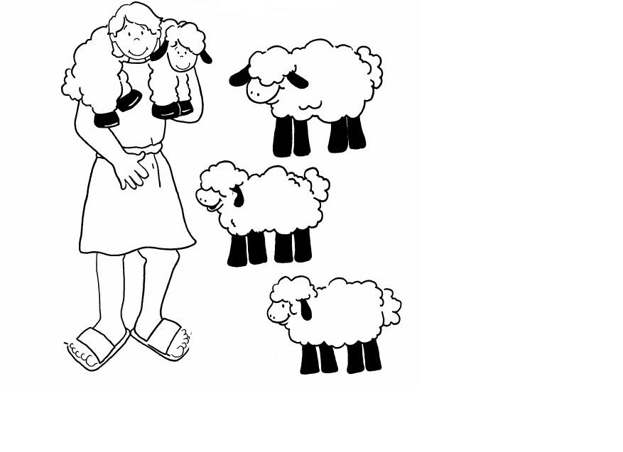 Dibujos para colorear de pastores con ovejas - Imageneitor