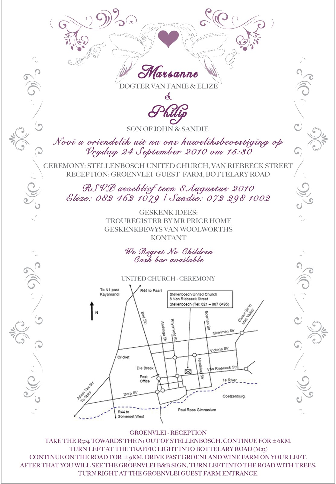 Wedding Invitations Wording Examples Afrikaans ~ Matik for .