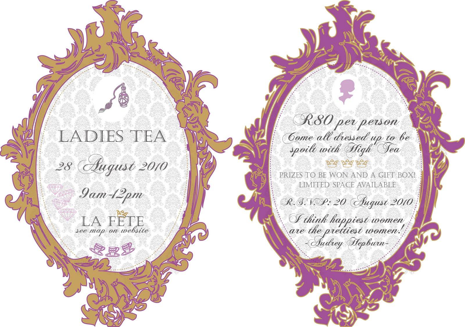 Stunning Ladies Tea Party Invitations Images - Invitation Card Ideas ...