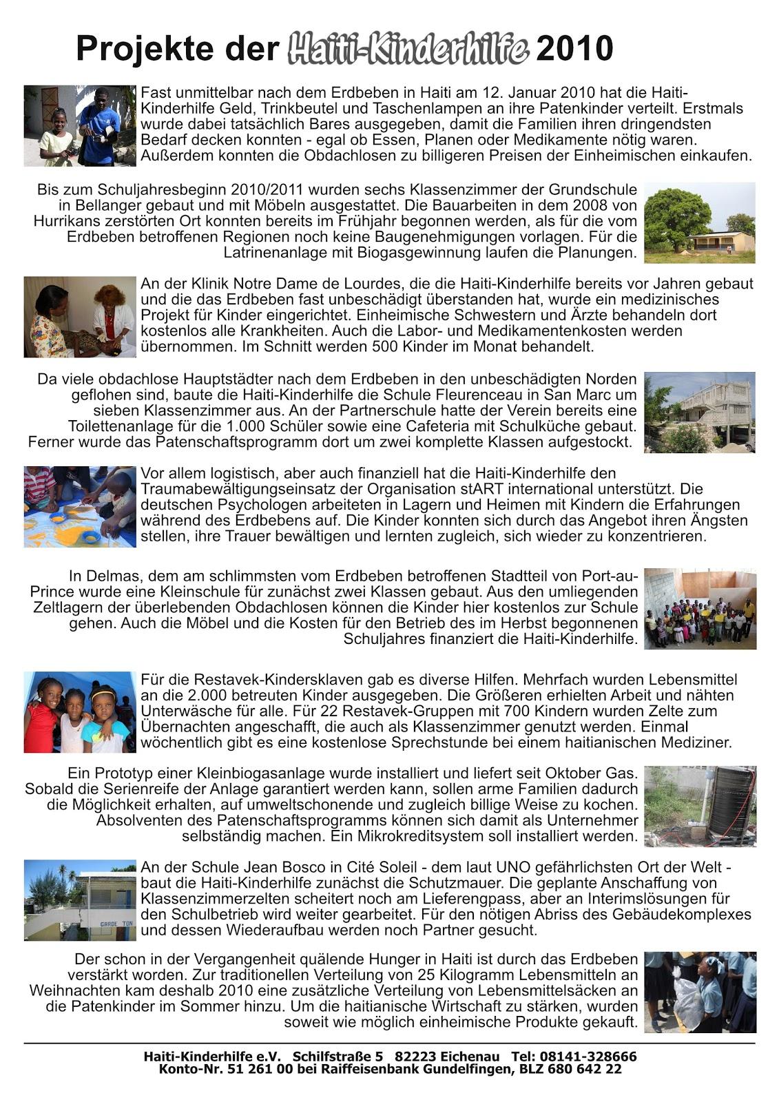 Haiti-Kinderhilfe e.V.: jahresrückblick 2010