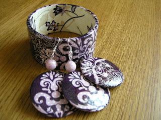 fioletowy ornament (komplet biżuterii decoupage