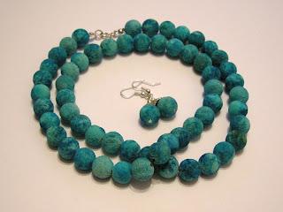 biżuteria z półfabrykatów - niebieski koral (komplet)
