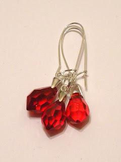 biżuteria z półfabrykatów - kryształki czerwone (komplet)