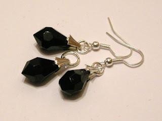 biżuteria z półfabrykatów - czarny kryształ (komplet)