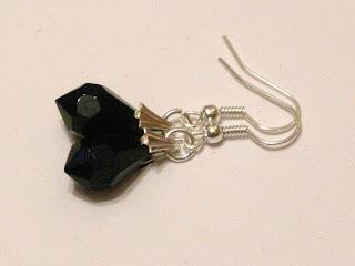 biżuteria z półfabrykatów - czarny kryształ (kolczyki)