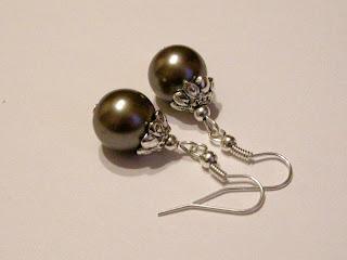 biżuteria z półfabrykatów - szare perły (kolczyki)