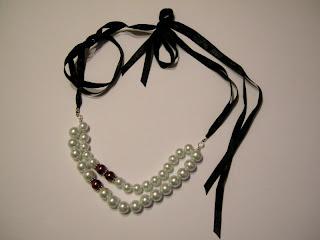 biżuteria z półfabrykatów - biel i różowy akcent (perły)