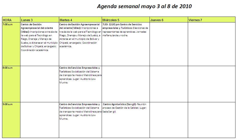 Agenda de actividades agenda actividades mayo 3 8 for Una puta con horario de oficina