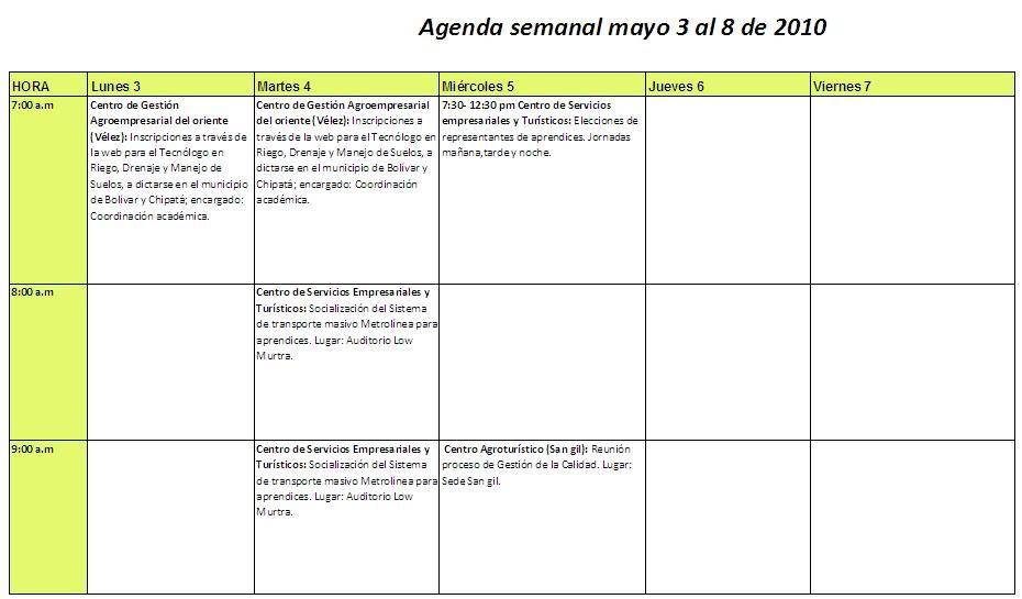 Agenda de actividades agenda actividades mayo 3 8 for Agendas de oficina