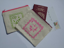 Handprinted travel inspired purses with contrast zips and patterned linings