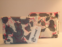 Handprinted washbags with contrast zips and patterned linings