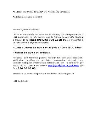 Trabajadoras del sad horario oficina de atenci n sindical for Convenio colectivo oficinas y despachos almeria