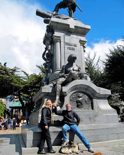 Touching Patagon in Plaza Munoz Gamero - Punta Arenas
