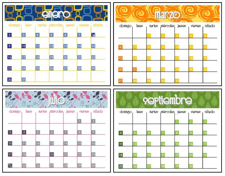 imprimible  calendario  planeador 2011