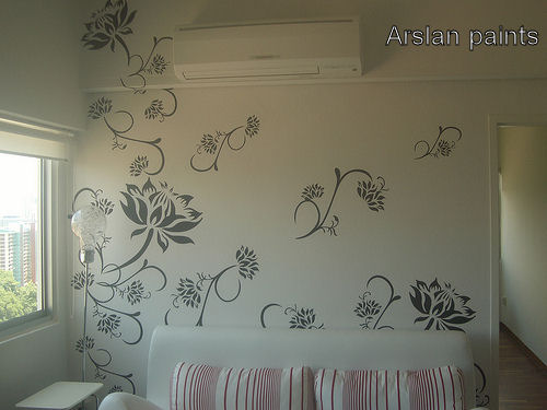 Wall Paints Cool With Flower Wall Painting Designs Photo