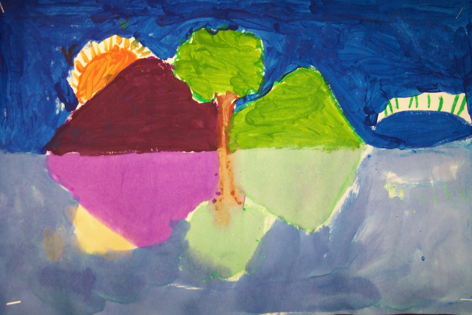 Second Grade Students Reviewed Their Primary And Secondary Colors By Creating These Wonderful Landscape Reflections Were Completed Only Using The