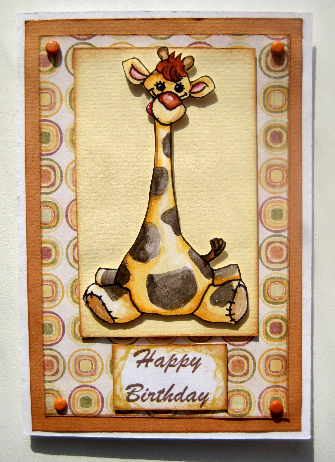 Открытки с днем рождения с жирафом