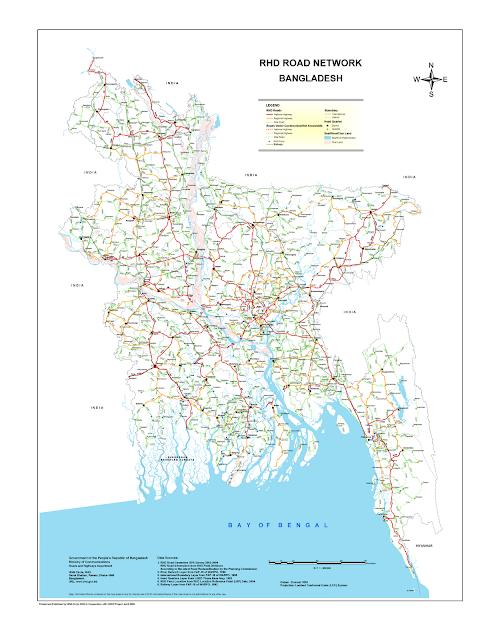 Maps of Bangladesh Road Network Map of Bangladesh