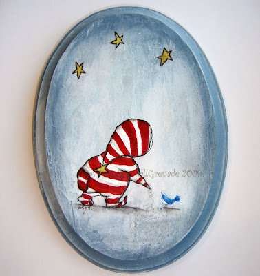 Night Visitor Acrylic painting on wooden plaque
