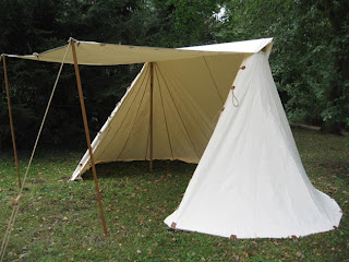 For years we used an A-frame viking tent but recently we sold it and purchased a Anglo Saxon Geteld. It is easy to transport and much quicker to set up. & Costume Diaries: New Tent