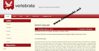 Vertebrata, blogger templates, red blogger theme