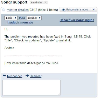 Imagen del email de soporte de Songr
