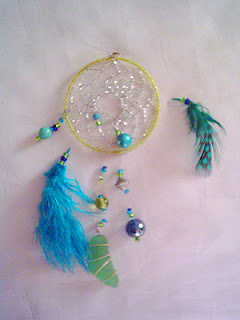 Mini beaded dreamcatcher with a piece of seaglass