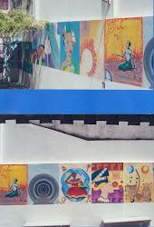 Resultado  de  processo  criativo  em  pintura  mural,  por  alunos  de  Artes  Visuais