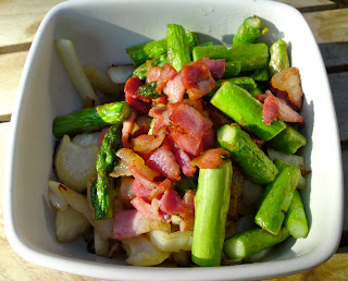 Thursday's pre-Opening dinner - sauteed cabbage and asparagus, topped with bacon