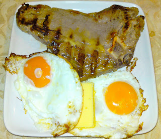Thursday's mega pre-Opening breakfast - t-bone steak and buttery fried eggs