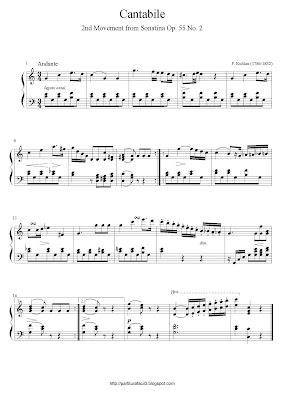 Partitura de piano gratis de Friedrich Kuhlau: Cantabile (Sonatina Op.55)
