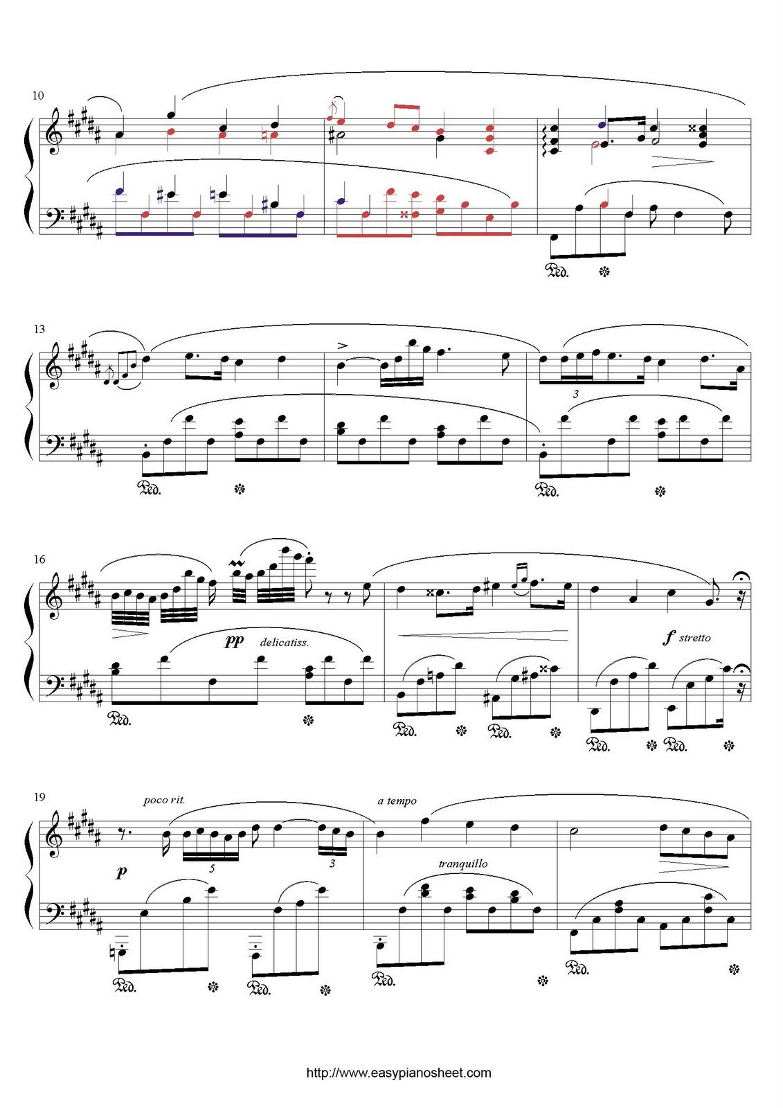 Partitura de piano gratis de Fryderyk Chopin: Nocturno (Op. 32, No.1)