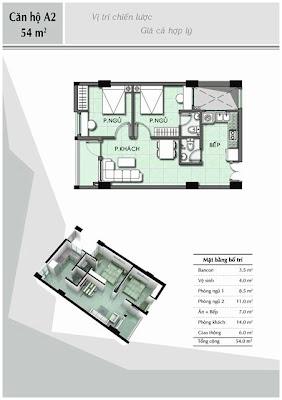 Căn hộ A2 54 m2