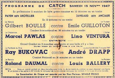 Lino Ventura ,champion d'Europe de catch Marcel+PAWLAS+contre+Lino+VENTURA+le+15-11-1947+%C3%A0+Reims+51