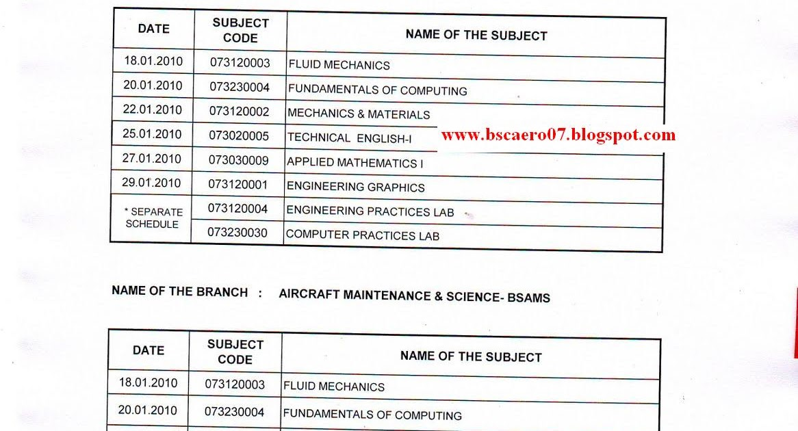 B sc aeronautical science arrear time table for first for Rtmnu time table 4th sem