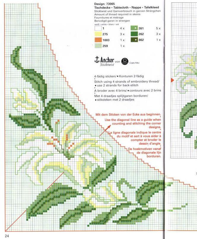 Схема для вышивки крестом лилия 138