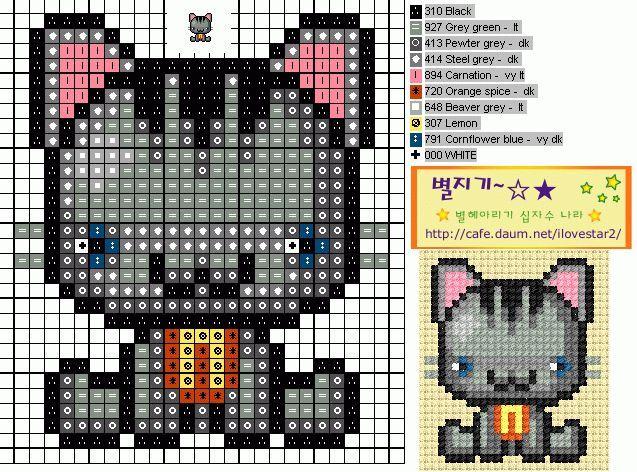 схемы вышивки котов крестом - Сделай сам!