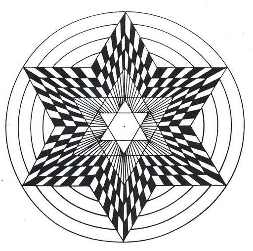 Mandalas Para Pintar: en forma de estrella negro y blanco