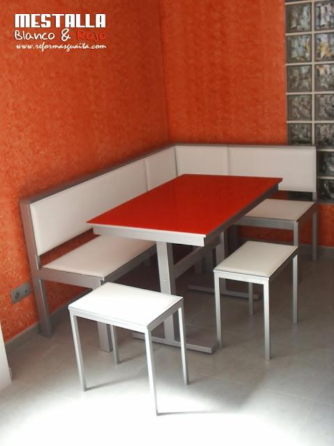 Cocina actual en Mestalla Rojo & Blanco con office pintado y ...