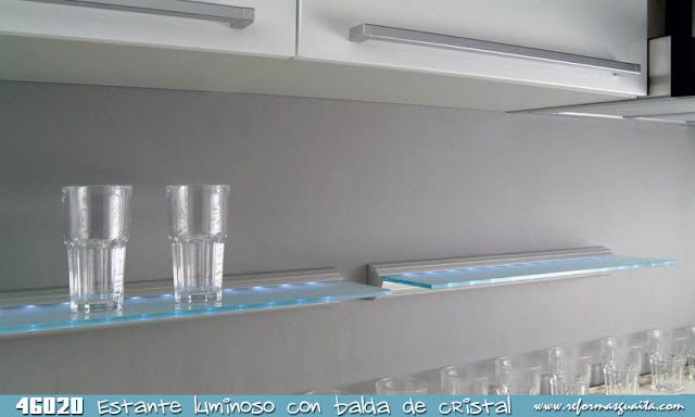 Estante cristal luz led 46020 tu cocina y ba o - Baldas de cristal ...