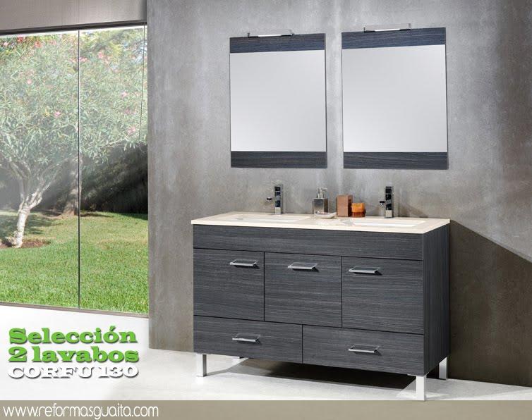 Muebles De Baño Gris Cenizamueble+baño+2+lavabos+corfu+130+gris