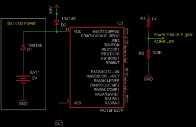 Battery Backup Microcontroller Circuit