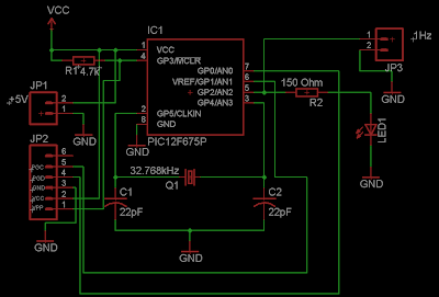 1Hz Clock generator using PIC12F675
