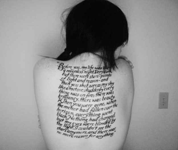 I understand devotion to literature and I understand the love of tattoos