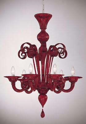 red Murano glass chandelier from Italian Lighting Center