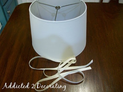 How to re cover and customize a lampshade with new fabric and trim instructions aloadofball Images